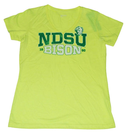Shop North Dakota State Bison Gear for Sports Women Neon Yellow V-Neck T-Shirt (M) - Sporting Up