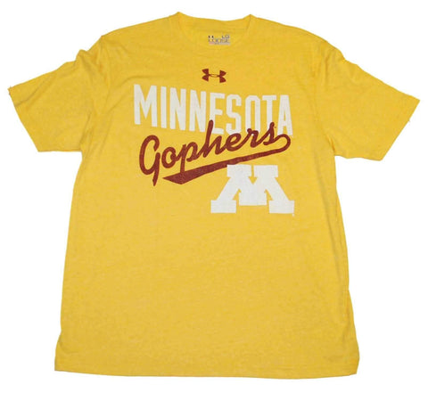 Shop Minnesota Golden Gophers Under Armour Yellow Legacy HeatGear T-Shirt (L)