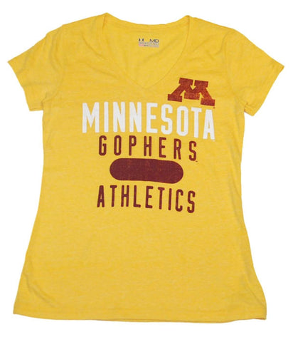 Minnesota Golden Gophers Under Armour Women Yellow HeatGear V-Neck T-Shirt (M)