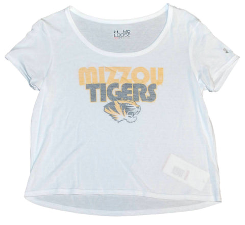 Shop Missouri Tigers Under Armour Women White HeatGear Loose Cropped T-Shirt (M)