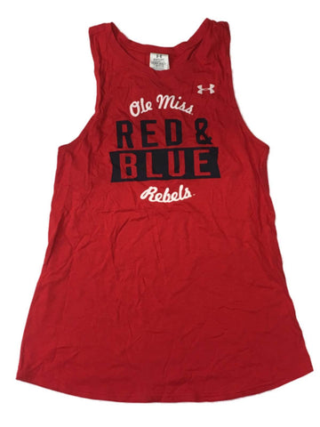 Shop Ole Miss Rebels Under Armour WOMEN'S Red HeatGear Loose Racerback Tank Top (M)