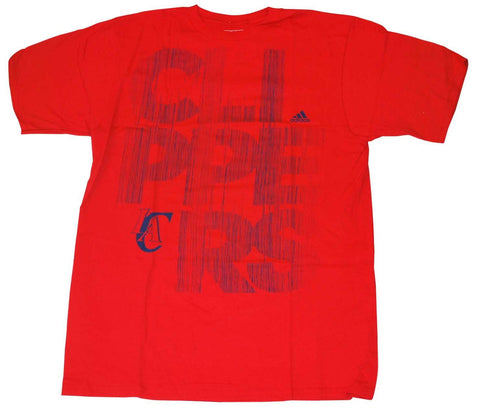 Los Angeles Clippers Adidas Red Faded Scribbled Logo 100% Cotton T-Shirt (L)