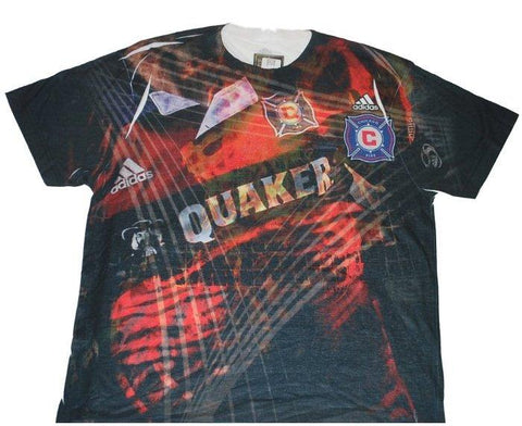 Chicago Fire Adidas Performance Lightweight Quaker Faded Fire Design T-Shirt (L)