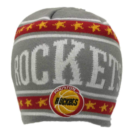 Houston Rockets Adidas Light Gray Star Stripe Design Knit Beanie Hat Cap - Sporting Up