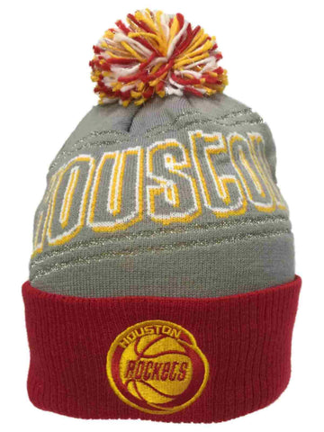 Houston Rockets Adidas Women Gray Sparkle Cuffed Knit Poofball Beanie Hat Cap