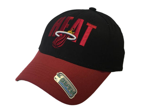 Miami Heat NBA Elevation YOUTH Structured Black Red Adj Hat Cap