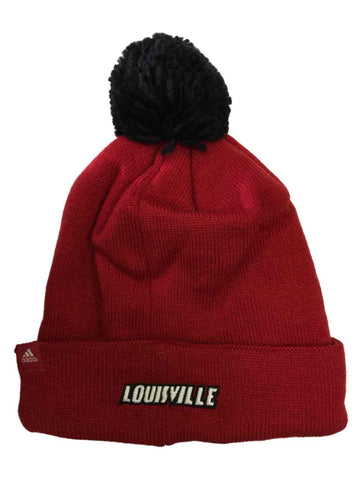 Louisville Cardinals Adidas NCAA Acrylic Red Knit Cuffed Poofball Beanie Hat Cap