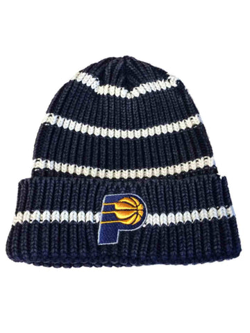 d6562ceb20e Indiana Pacers Adidas Navy and White Striped Knit Cuffed Beanie Hat Cap