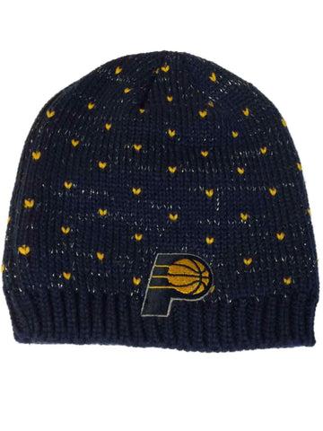 wholesale dealer a73c0 184ad Shop Indiana Pacers Adidas WOMENS Navy Yellow Heart Sparkle Beanie Hat Cap