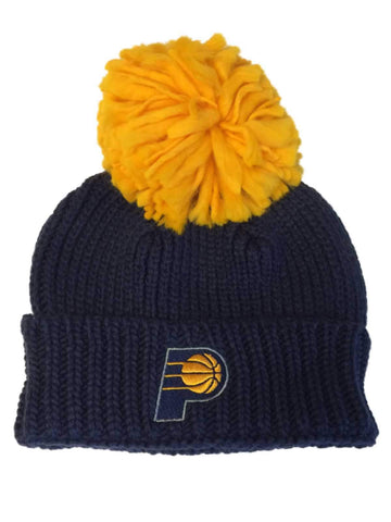 9080e027ee6 Indiana Pacers Adidas Navy Acrylic Knit Cuffed Beanie Hat Cap with Large  Poof