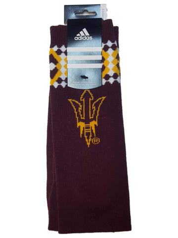 Shop Arizona State Sun Devils Adidas WOMENS Maroon Argyle Style Tall Socks (One Size) - Sporting Up