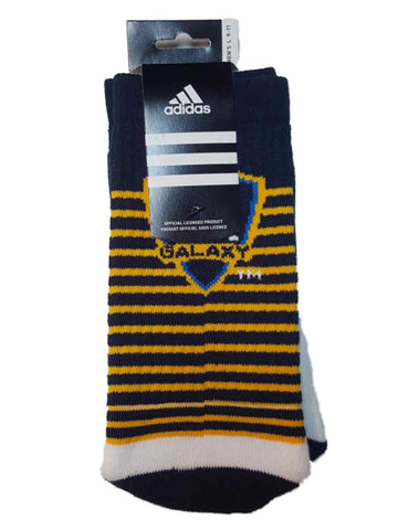 Los Angeles Galaxy Adidas White with Navy & Yellow Stripes Men's Crew Socks (L)