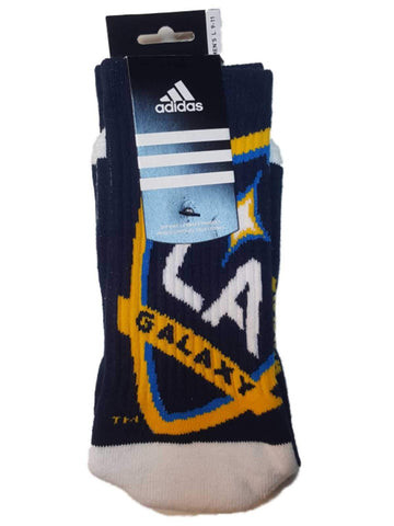 Los Angeles Galaxy Adidas Navy and White with Dual Logos Men's Crew Socks (L)