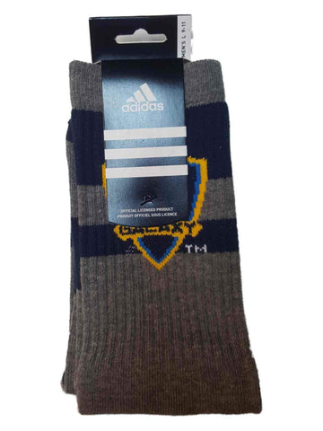 Los Angeles Galaxy Adidas Charcoal Gray with Navy Stripes Men's Crew Socks (L)