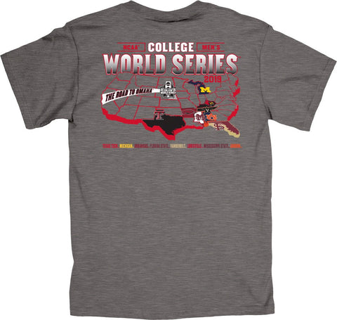 "2019 NCAA Men's College World Series CWS 8 Team ""Federation"" Gray T-Shirt - Sporting Up"