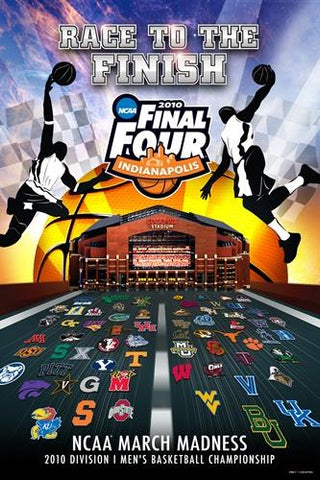 "2010 NCAA Final Four Basketball ""Race To The Finish"" Print Poster 24"" x 36"""