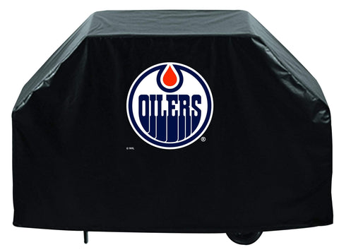 Edmonton Oilers HBS Black Outdoor Heavy Duty Breathable Vinyl BBQ Grill Cover