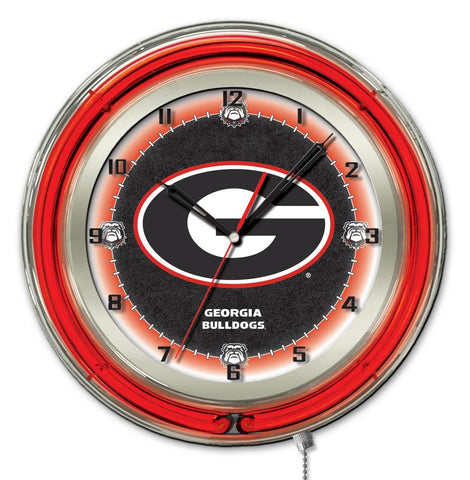 "Georgia Bulldogs HBS Neon Red Black ""G"" Logo Battery Powered Wall Clock (19"")"