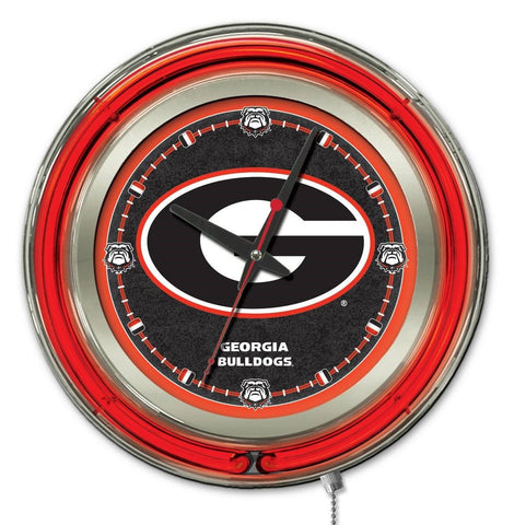 "Georgia Bulldogs HBS Neon Red Black ""G"" Logo Battery Powered Wall Clock (15"")"