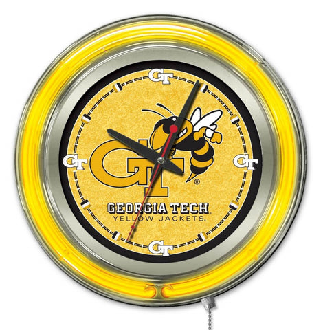 "Georgia Tech Yellow Jackets HBS Neon Yellow Battery Powered Wall Clock (15"")"
