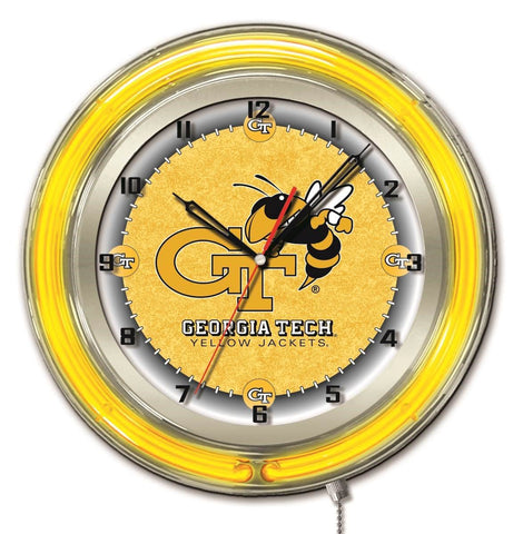 "Georgia Tech Yellow Jackets HBS Neon Yellow Battery Powered Wall Clock (19"")"