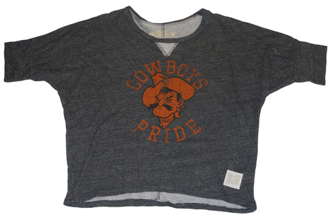 Oklahoma State Cowboys Retro Brand Womens Charcoal Gray Half Shirt (S)
