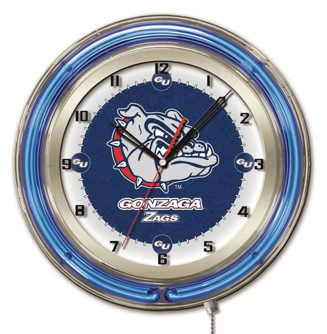 "Gonzaga Bulldogs HBS Neon Blue College Battery Powered Wall Clock (19"")"
