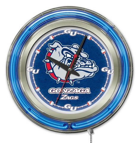 "Gonzaga Bulldogs HBS Neon Blue College Battery Powered Wall Clock (15"")"