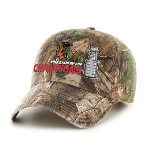Shop Chicago Blackhawks 2015 NHL Stanley Cup Champs Camo Trophy 47 Brand Adj Hat Cap