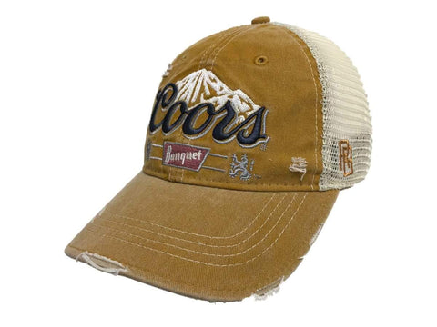 81e6c66df9fbe Coors Banquet Brewing Company Retro Brand Vintage Mesh Beer Gold Adjust Hat  Cap