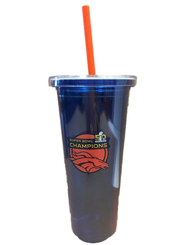 Denver Broncos 2016 Super Bowl 50 Champions 22oz Blue Tumbler with Straw