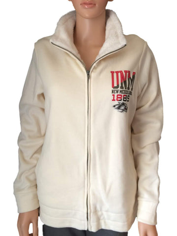 Shop New Mexico Lobos Gear for Sports Womens Zip Up Warm Plush Cream Jacket (M)