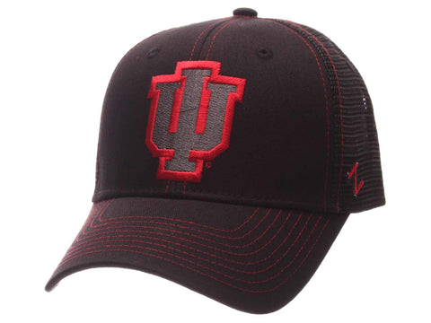 Indiana Hoosiers Zephyr Black Mesh Blackout Trucker Adjustable Snapback Hat Cap