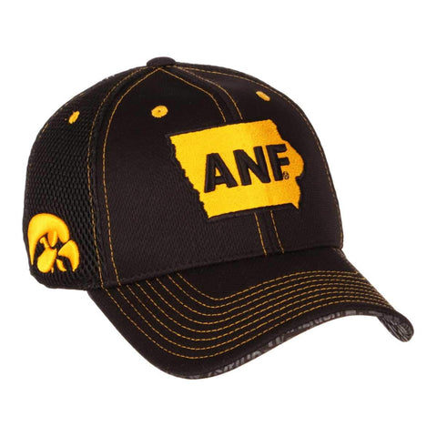 Iowa Hawkeyes Zephyr Black ANF Farm Strong Undertaker Stretch Fit Hat Cap