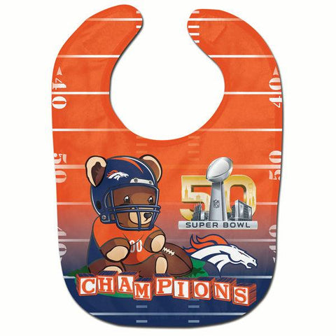 Denver Broncos 2016 Super Bowl 50 Champions Teddy Bear Infant Baby Orange Bib