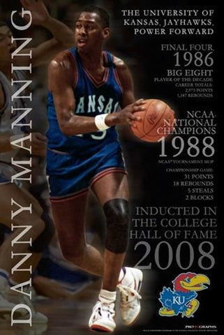 Kansas Jayhawks Limited Edition Tribute to Danny Manning Poster Print 24 x 36