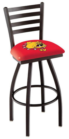 Ferris State Bulldogs HBS Red Ladder Back High Top Swivel Bar Stool Seat Chair