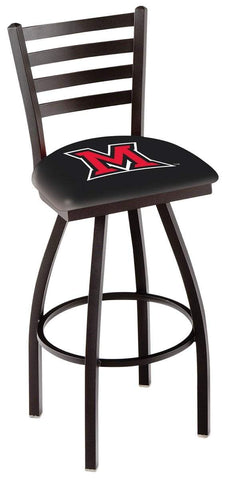 Miami Redhawks HBS Black Ladder Back High Top Swivel Bar Stool Seat Chair