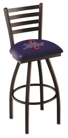 Tulsa Golden Hurricane HBS Ladder Back High Top Swivel Bar Stool Seat Chair