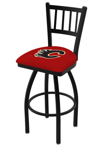"Calgary Flames HBS Red ""Jail"" Back High Top Swivel Bar Stool Seat Chair"