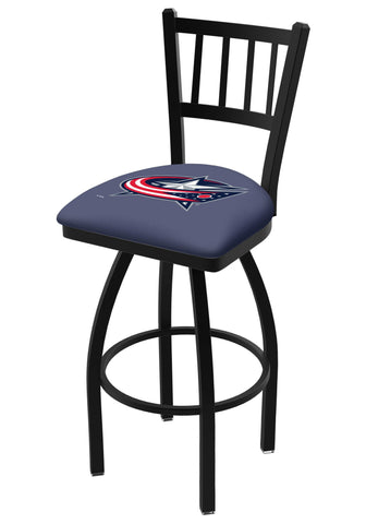 "Columbus Blue Jackets HBS Navy ""Jail"" Back High Top Swivel Bar Stool Seat Chair"