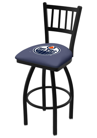 "Edmonton Oilers HBS Navy ""Jail"" Back High Top Swivel Bar Stool Seat Chair"