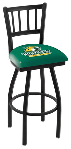 "Northern Michigan Wildcats HBS ""Jail"" Back High Top Swivel Bar Stool Seat Chair"