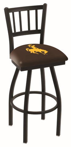 "Wyoming Cowboys HBS Brown ""Jail"" Back High Top Swivel Bar Stool Seat Chair"