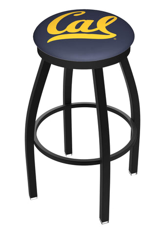 California Golden Bears HBS Black Swivel Bar Stool with Blue Cushion