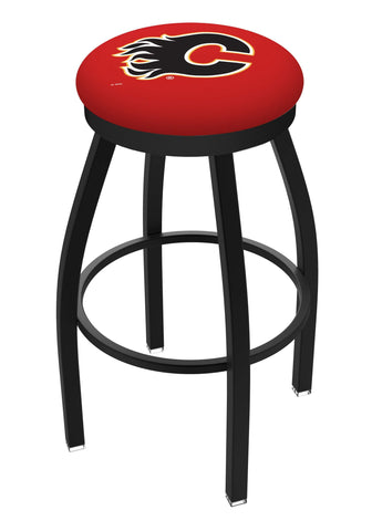Calgary Flames HBS Black Swivel Bar Stool with Red Cushion