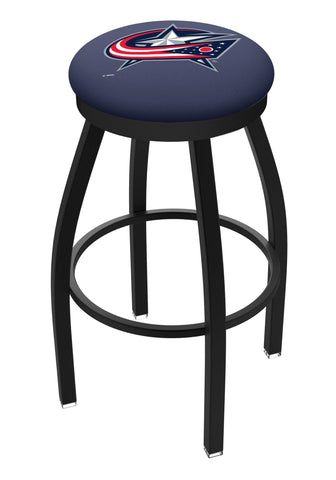 Columbus Blue Jackets HBS Black Swivel Bar Stool with Blue Cushion