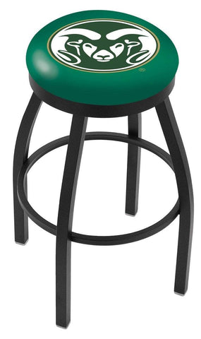 Colorado State Rams HBS Black Swivel Bar Stool with Green Cushion