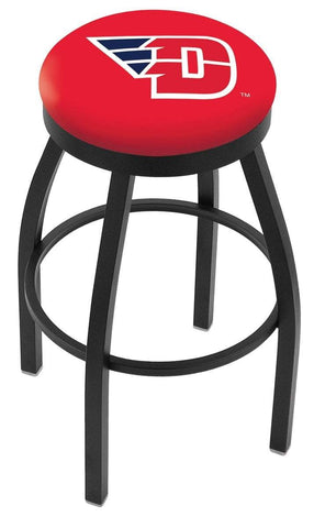 Shop Dayton Flyers HBS Black Swivel Bar Stool with Red Cushion - Sporting Up