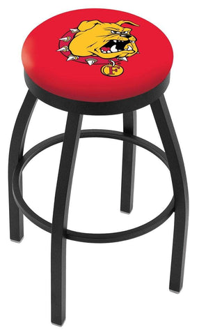 Ferris State Bulldogs HBS Black Swivel Bar Stool with Red Cushion